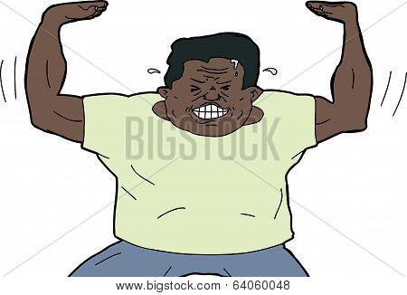 Muscular Man Pushing