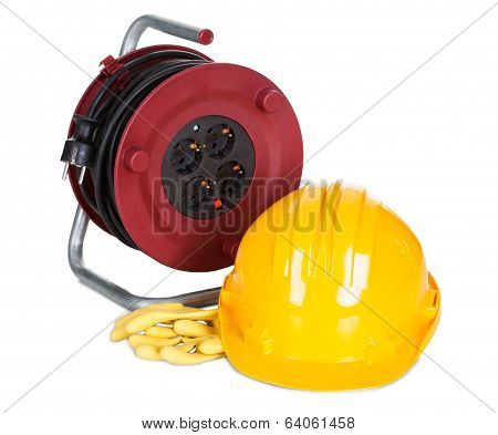 Electric Cable Rell, Helmet And Rubber Gloves