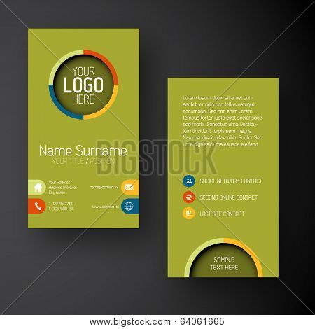 Modern simple green vertical business card template with some placeholder
