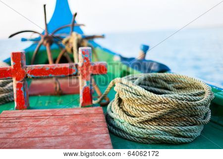 Close up of a traditional maldivian fishing boat dhoni