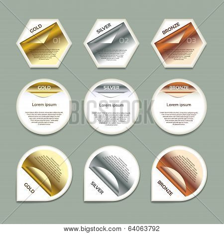 Gold Silver Bronze Vector Progress Background / Product Choice or Version. eps 10