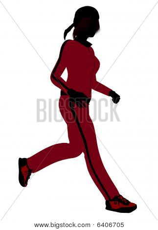 Female Jogger Illustration Silhouette
