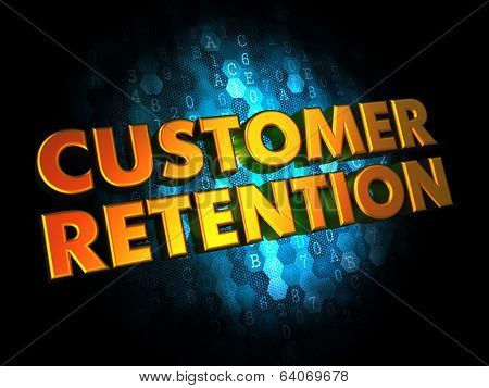 Customer Retention - Gold 3D Words.