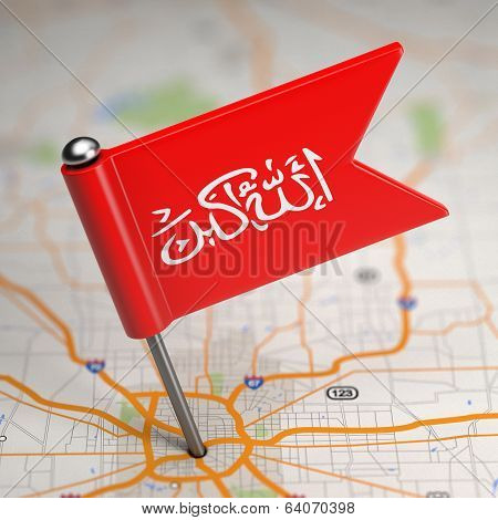 Waziristan Small Flag on a Map Background.