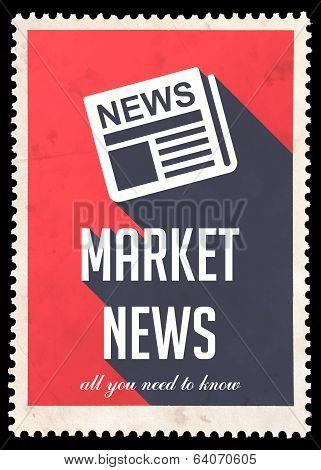 Market News on Red in Flat Design.