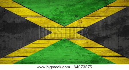 Jamaican flag painted on wooden boards