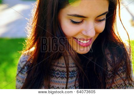 Closeup portrait of a happy beautiful woman