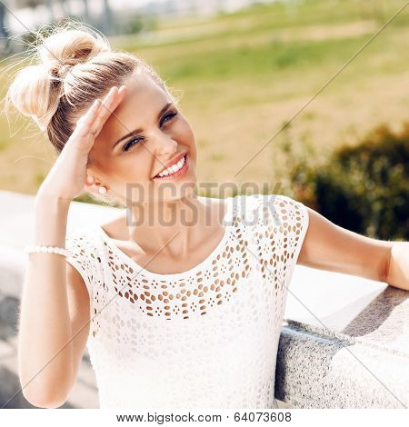 Girl In White Summer Dress