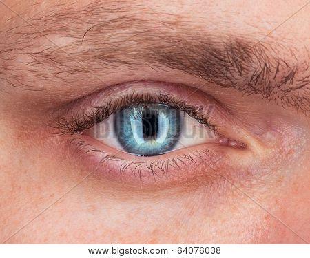 Close-up Of Blue Eye A Man
