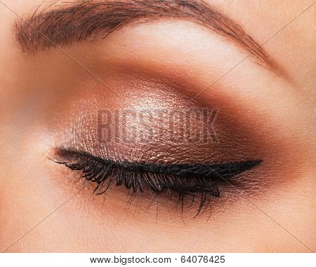 Closeup Of Womanish Eye With Neutral Makeup