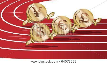 Cartoon Running Coins
