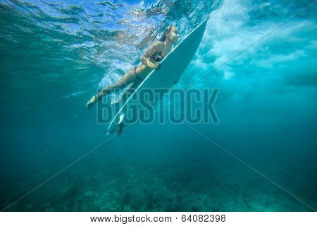 Surfing A Wave.under Water Picture.