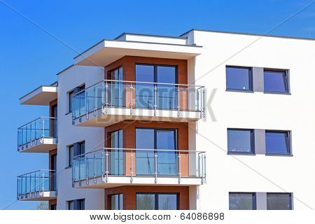PRUSZCZ GDANSKI, POLAND - APRIL 23, 2014: The newly built modern residential apartments in Pruszcz Gdanski, Poland on 23 April 2014. Pruszcz Gdanski is growing industrial town neighbouring to Gdansk.