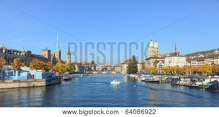 Zurich, View Along The Limmat River