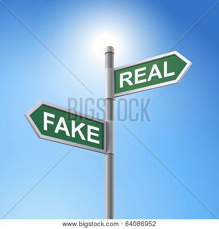 3D Road Sign Saying Fake And Real