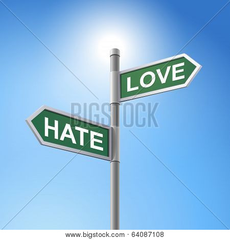 3D Road Sign Saying Hate And Love