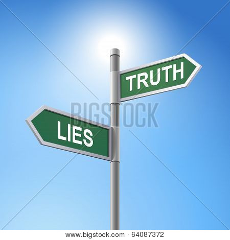 3D Road Sign Saying Lies And Truth