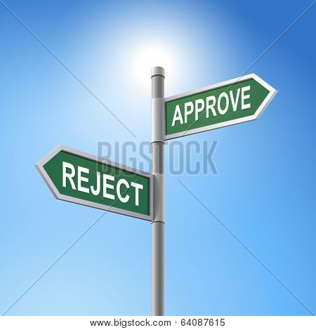3D Road Sign Saying Reject And Approve