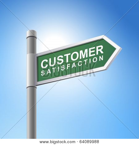 3D Road Sign Saying Customer Satisfaction