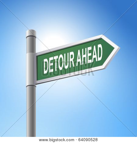 3D Road Sign Saying Detour Ahead