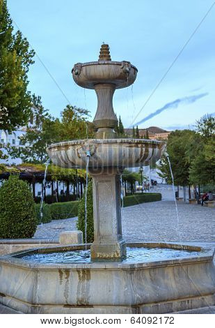 Fountain Walking Street Albaicin Granada Andalusia Spain