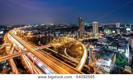 Bangkok Cityscape At Twilight, Bangkok Expressway