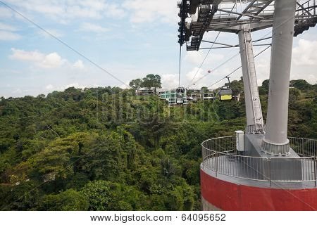 Cable cars from Singapore to Sentosa Island and back.