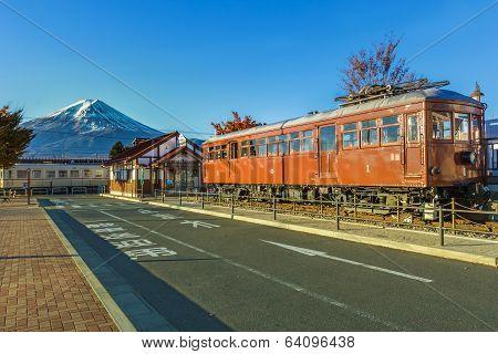Fujikawaguchiko, Japan - November 23 2013: An Old Carnergie Model 1897 Train Displayed In Front Of K