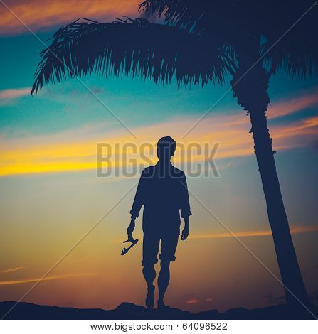 Retro Man On Beach
