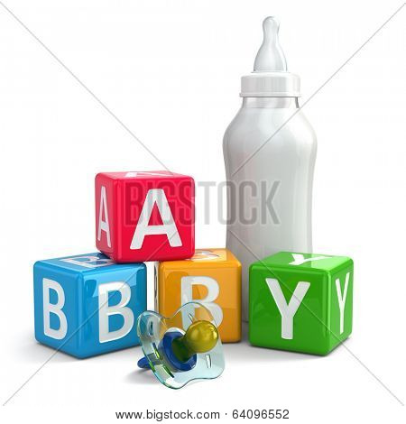 Pacifier, Milk in bottle and buzzword blocks with word baby. 3d