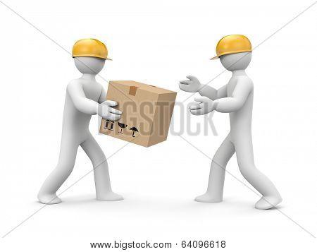 People unload cargo