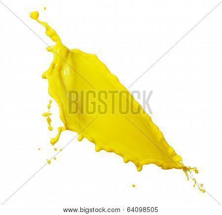 Yellow liquid milk isolated ot white background