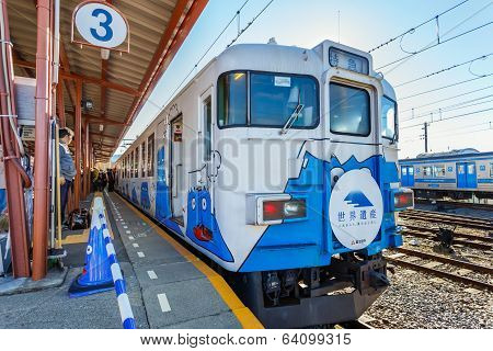 Fujikyuko Line at Kawaguchiko Station in Japan