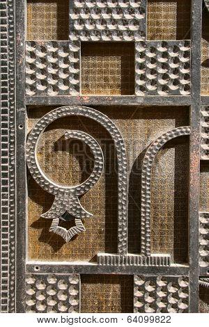 metal ornamented door