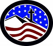 image of cross hill  - Illustration of a cross on top of hill with American stars and stripes flag in background set inside oval shape done in retro style - JPG