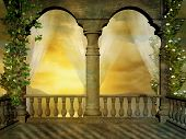 image of three kings  - view of a beautifull sunset from a castle balcony with transparent curtains - JPG