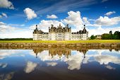 foto of chateau  - Chateau de Chambord royal medieval french castle and reflection - JPG