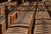 picture of boxcar  - Illinois Central boxcars in railroad staging yard - JPG