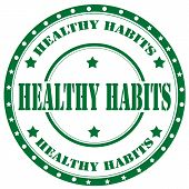 picture of  habits  - Rubber stamp with text Healthy  Habits - JPG