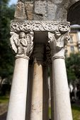 image of genova  - Capital and columns of the cloister of St. Andrea (12th century) between Porta Soprana and Christopher Columbus