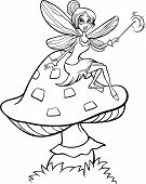 picture of fairy-mushroom  - Black and White Cartoon Illustration of Cute Elf Fairy Fantasy Character on Toadstool Mushroom for Coloring Book - JPG