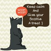 stock photo of scottie dog  - Cute card template with sketch of a sweet sitting Scottish terrier and figure frames for the text on doodle chevron background - JPG