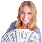 stock photo of money prize  - Closeup portrait of cute smiling girl winning money - JPG