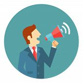 picture of public speaking  - Businessman with a megaphone or loud - JPG