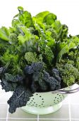 image of roughage  - Dark green leafy fresh vegetables in metal colander - JPG
