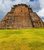 stock photo of mayan  - Mayan pyramid in Uxmal - JPG