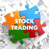 pic of debenture  - Stock Trading on Multicolor Puzzle on White Background - JPG