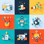 stock photo of marketing plan  - Vector collection of flat and colorful business and finance concepts with long shadow - JPG