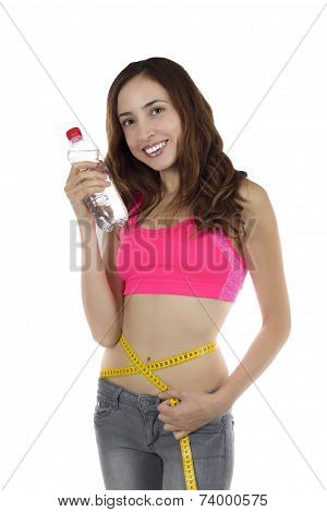 Young Weight Loss Woman With A Water Bottle