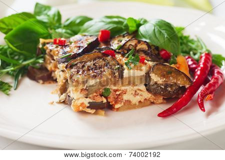 Greek moussaka dish with eggplant or aubergine and minced meat